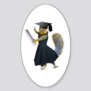 Girl Squirrel Grad Sticker (Oval)