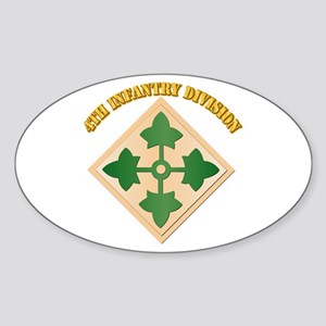 SSI - 4th Infantry Division with text Sticker (Ova