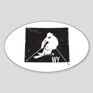 Ski Wyoming Sticker (Oval)