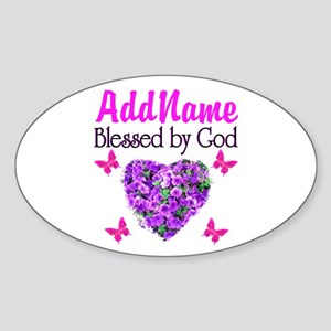 BLESSED BY GOD Sticker (Oval)