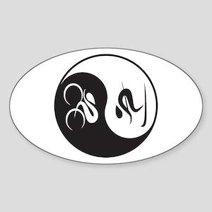 Bike-Ski Yin Yang Sticker (Oval)