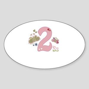 """Butterfly Birthday: 2"" Oval Sticker"