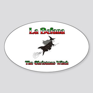 La Befana The Christmas Witch Oval Sticker