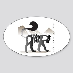 Amir black cat Oval Sticker