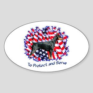 Doberman 6 Oval Sticker