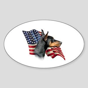 Doberman Flag Oval Sticker