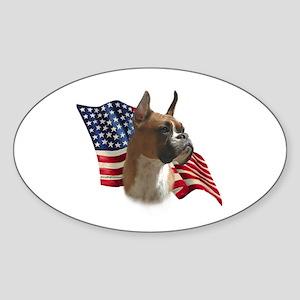 Boxer Flag Oval Sticker