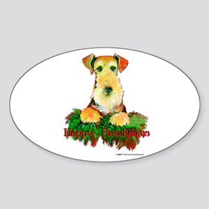 Airedale Holiday Oval Sticker