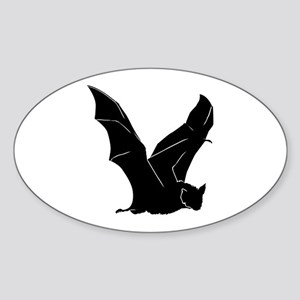 Flying Bat Silhouette Oval Sticker