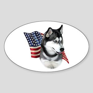 Husky(blk) Flag Oval Sticker
