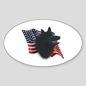 Schipperke Flag Oval Sticker