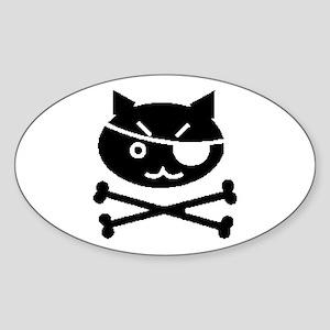 PIRATE CAT (BLK) Oval Sticker