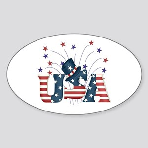 USA Fireworks Oval Sticker