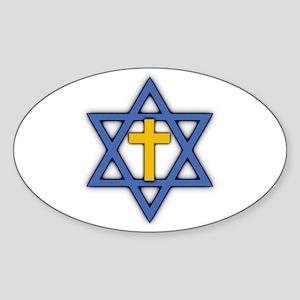 Star of David with Cross Oval Sticker
