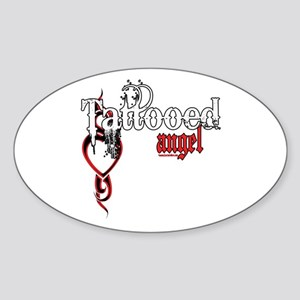 Tattooed Angel Oval Sticker