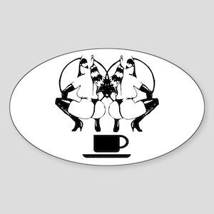 2 girls 1 cup Oval Sticker