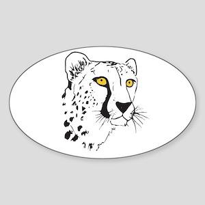 Silhouette Cheetah Oval Sticker