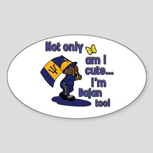 Cute and Bajan! Oval Sticker