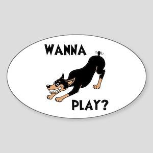 Wanna Play? Oval Sticker