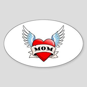 Mom Tattoo Winged Heart Oval Sticker