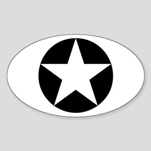 Black Disc Star Oval Sticker