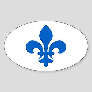 Blue Fleur-de-Lys Oval Sticker