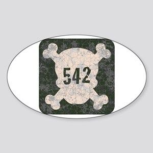 542 & Crossbones Oval Sticker