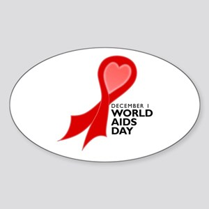 Worlds AIDS Day Red Ribbon Oval Sticker