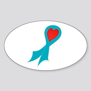 Teal Ribbon with Heart Oval Sticker