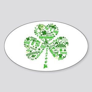 St Paddys Day Shamrock Sticker (Oval)