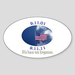 9-11 Not Forgotten Sticker (Oval)
