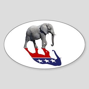 Republican Elephant Shadow Sticker (Oval)