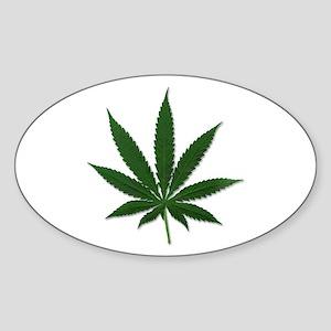 Marijuana Pot Leaf Oval Sticker