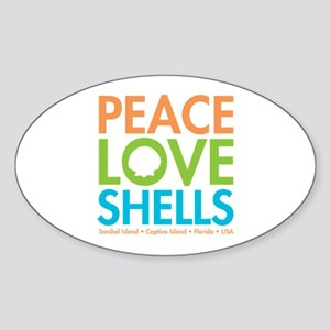 Peace-Love-Shells Sticker (Oval)