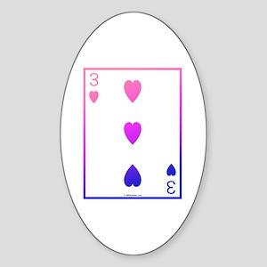 bi colored 3 of hearts Oval Sticker