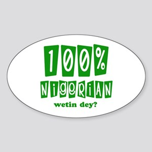 100% Nigerian Oval Sticker