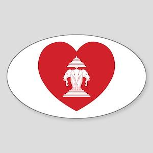 Laotian Erawan 3 Headed Elephant Heart Flag Sticke