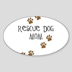 Rescue Dog Mom Oval Sticker