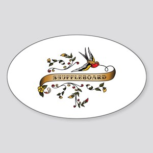 Shuffleboard Scroll Oval Sticker