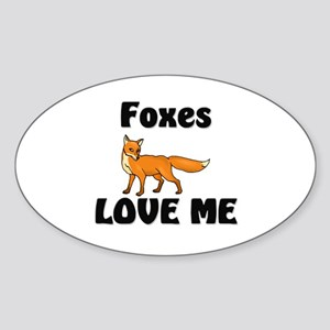Foxes Love Me Oval Sticker