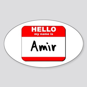 Hello my name is Amir Oval Sticker