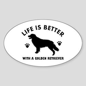 Golden retriever breed Design Sticker (Oval)