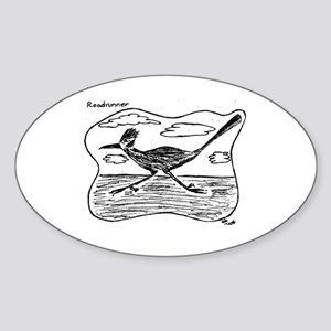 Roadrunner Illustration Oval Sticker