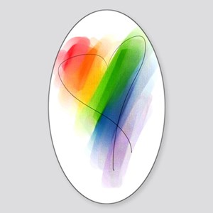 watercolor-rainbow-heart_tr Sticker (Oval)