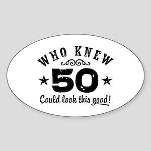 Funny 50th Birthday Sticker (Oval)
