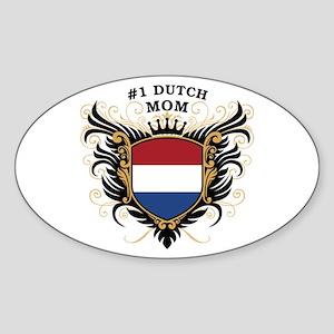 Number One Dutch Mom Oval Sticker