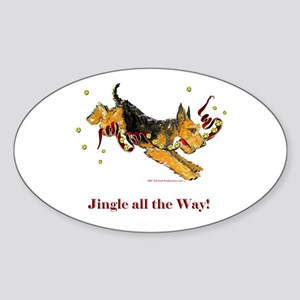 Welsh Terrier Holiday Dog! Oval Sticker