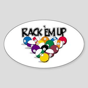 Rack Em Up Pool Sticker (Oval)