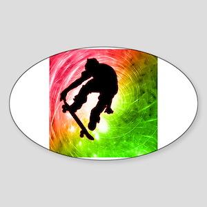 Skateboarder in a Psychedelic Sticker (Oval)