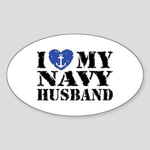 I Love My Navy Husband Sticker (Oval)
